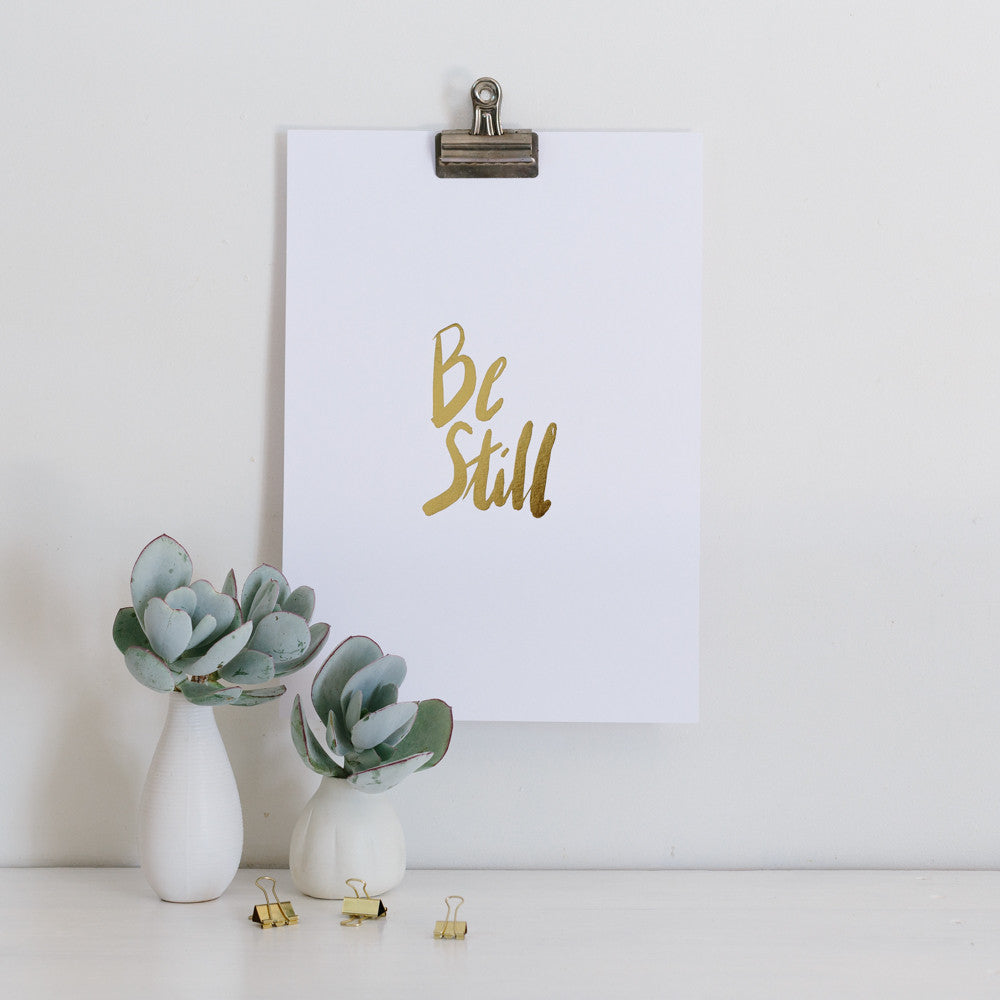 Be Still and know that I am God Gold Foil Wall Art