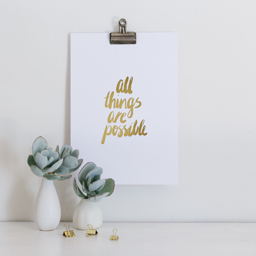 All things are possible gold foil wall art
