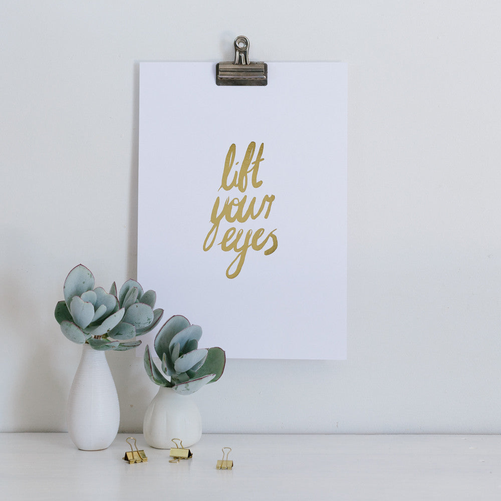 Lift Your Eyes to the Hills Gold Foil Wall Art