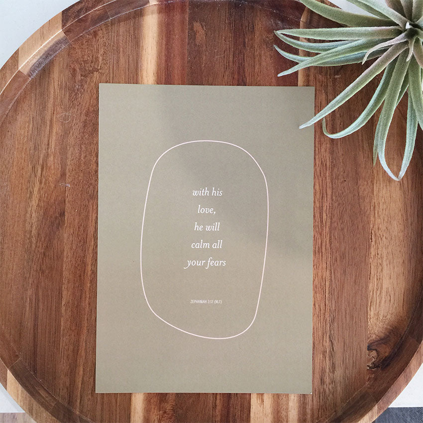 A5 Mini Print - Zephaniah 3:17 - Olive + Blush