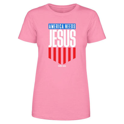 America Needs Jesus Color Print Women's Apparel