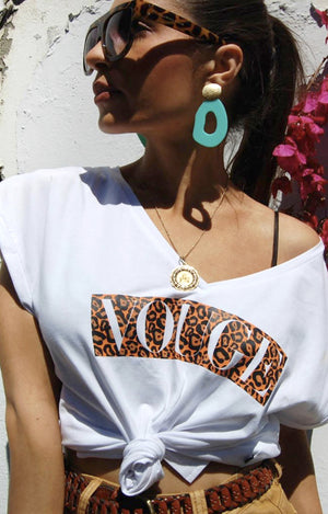 Leopard Vouge Tee in White