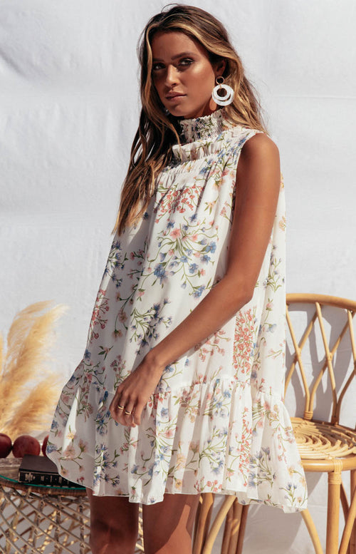 Roo Dress in White Floral
