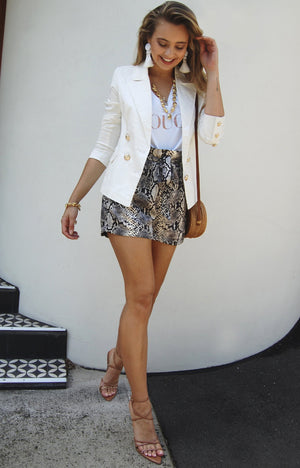 Snakeskin Paper Bag Shorts