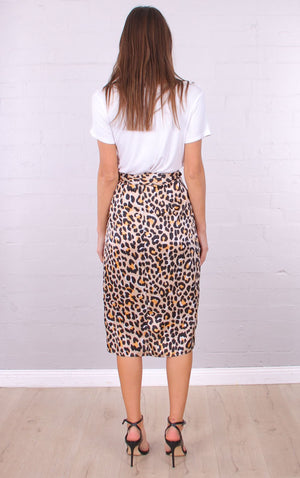 April Satin Wrap Skirt in Leopard Print
