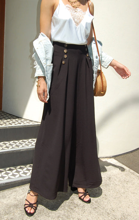 Boston Wide Leg Pant in Black