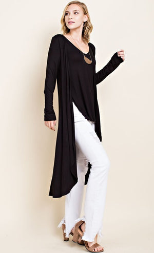 Emily 2 In 1 Cardigan Top Black