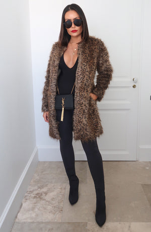 Preston Leopard Faux Fur Coat