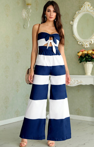 Vichi Stripe Jumpsuit in Navy