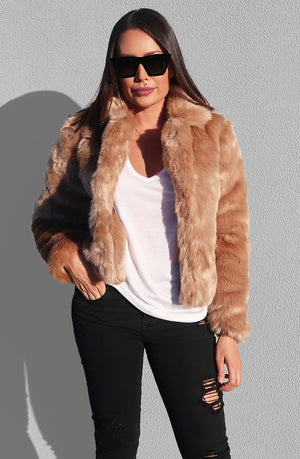 San Jose Faux Fur Coat in Latte
