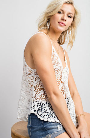 Sun Seeker Knit Top in White