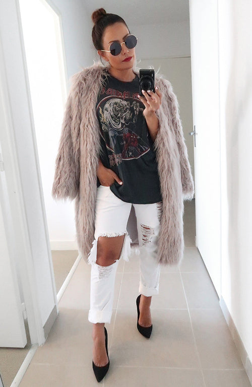 Riviera Faux Fur Coat in Grey