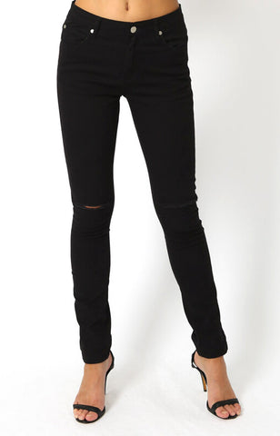 Evan Knee Slit Jeans in Black