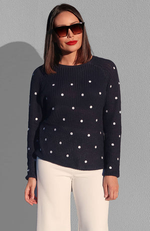 Shelby Polka Dot Sweater in Navy