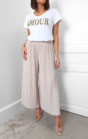 Tori Pleat Pant in Beige