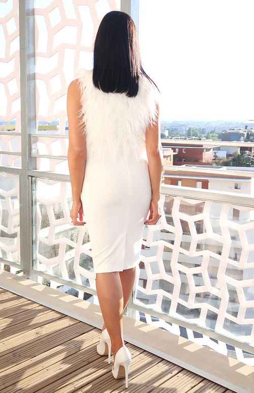 Siena Faux Fur Dress in White