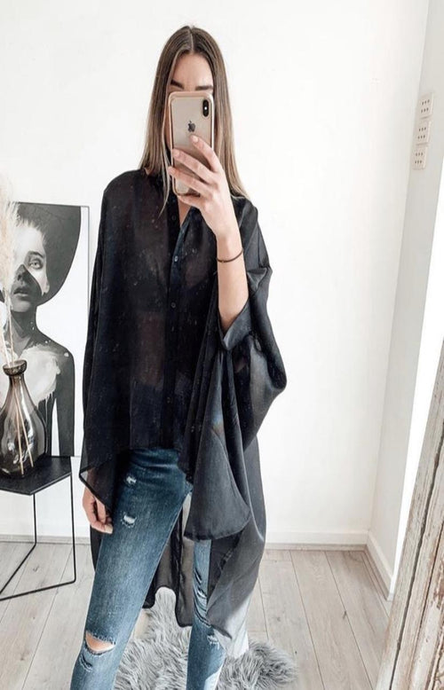 Shimmer Billow Blouse in Black
