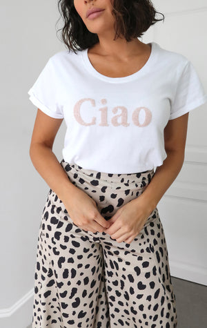 Ciao Beaded Slogan Tee
