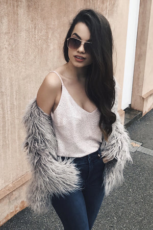 Milan Faux Fur Coat in Grey
