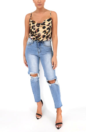 Jessie Satin Leopard Top