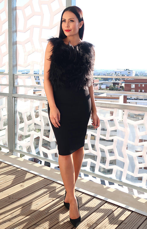 Siena Faux Fur Dress in Black