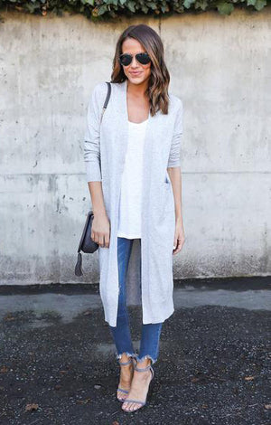Trina Long Cardigan in Grey