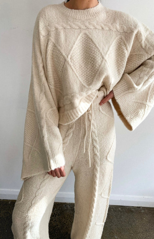 Lilianna Knit Pants in Natural