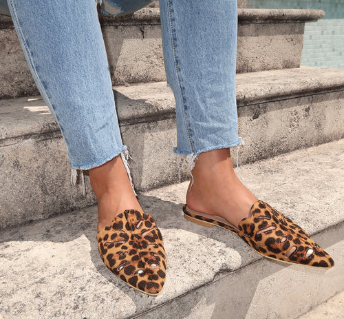 Lilly Slides in Leopard Print