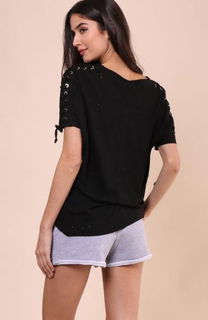 Ashton Lace Up Tee in Black