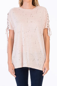 Ashton Lace Up Tee in Blush