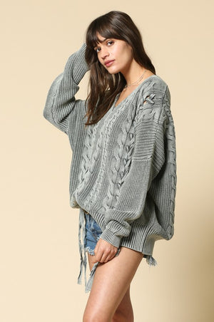 Stone Wash Cable Knit Sweater