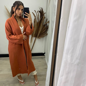 Come On Over Cardi in Terracotta