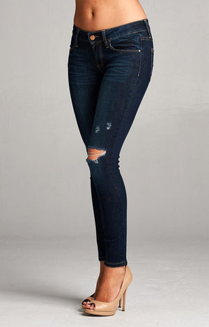 Peyton Distressed Knee Skinny Ankle Jeans