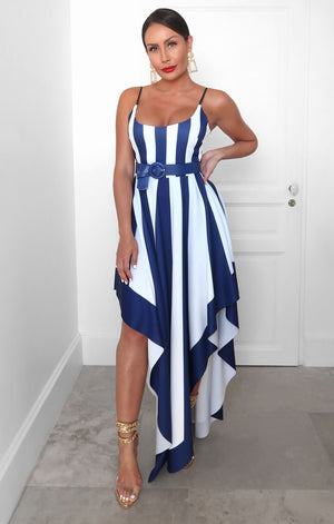 Sicily Stripe Dress in Blue
