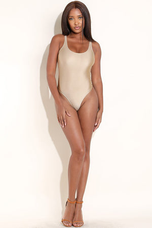 Voni Metallic Bodysuit in Gold