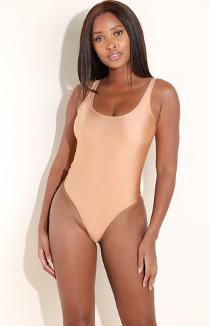 Voni Metallic Bodysuit in Rose Gold