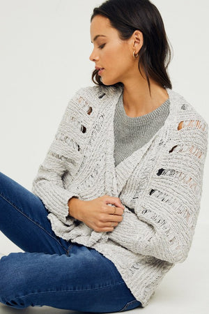 Avery Knit Cardigan in Grey
