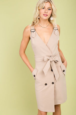Kora Buckle Dress in Beige