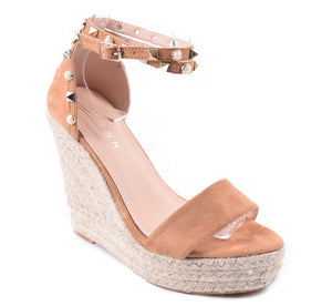 Lucette Embellished Wedges in Camel