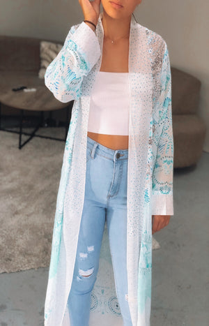 Major Compliments Duster in Teal