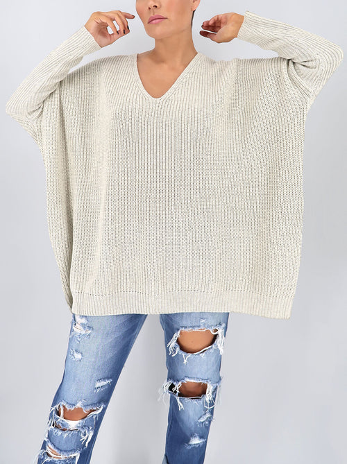 Deluca Knit Top in Light Grey
