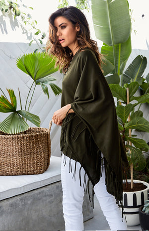 Devin Knit Poncho in Deep Khaki