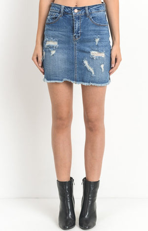 Charlie Denim Skirt in Medium Wash
