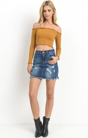 Charlie Denim Skirt in Dark Wash