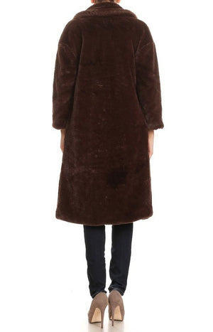 Harrison Long Teddy Coat in Chocolate