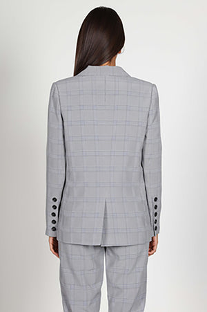 Heather Plaid Suit Jacket Grey