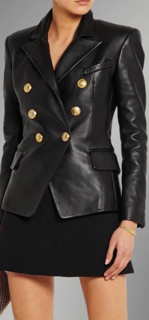 Jenna Leather Look Blazer (Preorder)