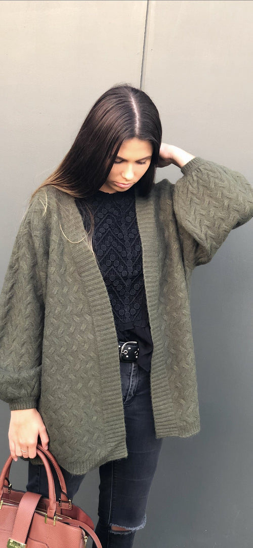 Georgia Knit Cardigan in Khaki