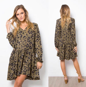 Sahara Leopard Dress in Khaki