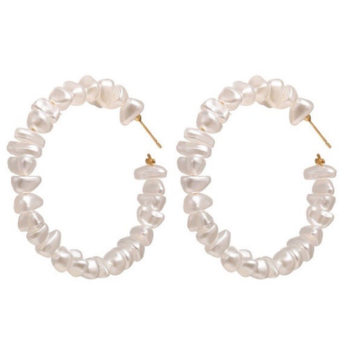 Shattered Pearl Hoops